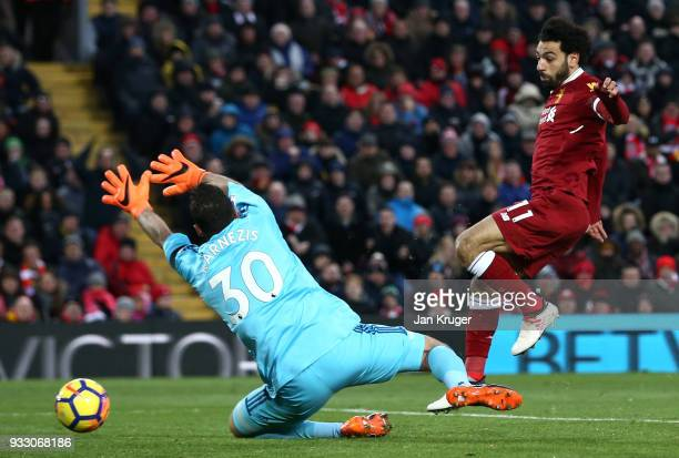 Mohamed Salah of Liverpool scores his side's second goal past Costel Pantilimon of Watford during the Premier League match between Liverpool and...