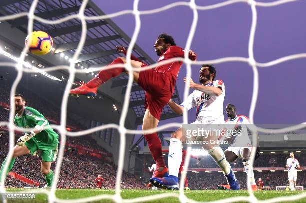 Mohamed Salah of Liverpool scores his sides third goal during the Premier League match between Liverpool FC and Crystal Palace at Anfield on January...