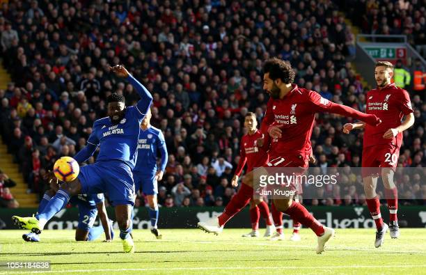 Mohamed Salah of Liverpool scores his team's first goal during the Premier League match between Liverpool FC and Cardiff City at Anfield on October...