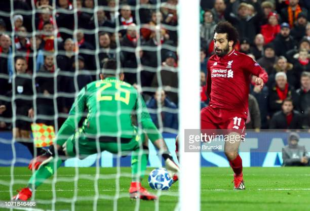 Mohamed Salah of Liverpool scores his team's first goal past David Ospina of Napoli during the UEFA Champions League Group C match between Liverpool...