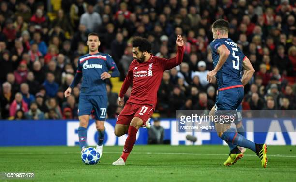 Mohamed Salah of Liverpool scores his team's second goal during the Group C match of the UEFA Champions League between Liverpool and FK Crvena Zvezda...