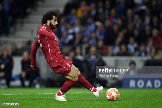 Mohamed Salah of Liverpool scores his team's second goal during the UEFA Champions League Quarter Final second leg match between Porto and Liverpool...