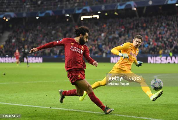 Mohamed Salah of Liverpool scores his team's second goal during the UEFA Champions League group E match between RB Salzburg and Liverpool FC at Red...
