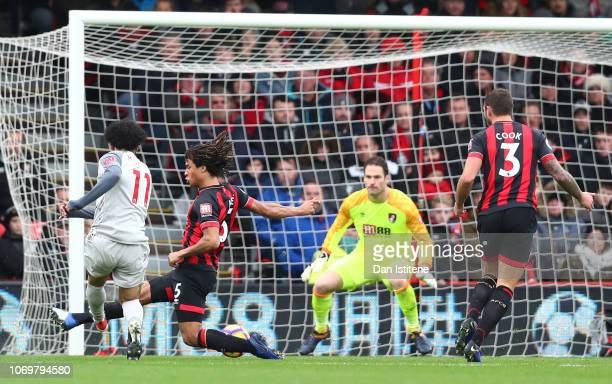 Mohamed Salah of Liverpool scores his team's second goal past Asmir Begovic of AFC Bournemouth during the Premier League match between AFC...