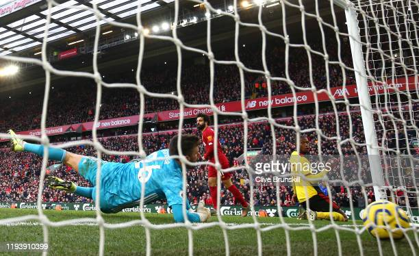 Mohamed Salah of Liverpool scores his team's second goal past Ben Foster of Watford during the Premier League match between Liverpool FC and Watford...