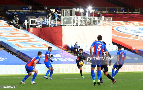 Mohamed Salah of Liverpool scores his team's seventh goal during the Premier League match between Crystal Palace and Liverpool at Selhurst Park on...