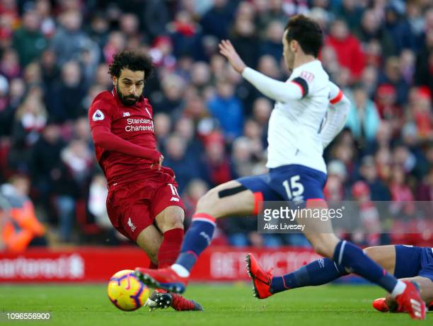Mohamed Salah of Liverpool scores his team's third goal during the Premier League match between Liverpool FC and AFC Bournemouth at Anfield on...