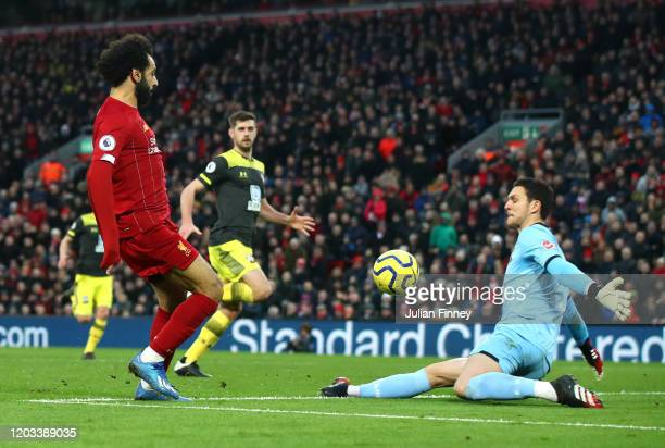 Mohamed Salah of Liverpool scores his team's third goal during the Premier League match between Liverpool FC and Southampton FC at Anfield on...