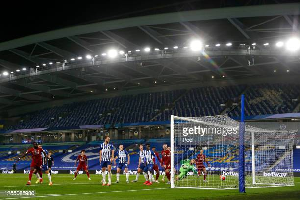 Mohamed Salah of Liverpool scores his teams third goal during the Premier League match between Brighton & Hove Albion and Liverpool FC at American...