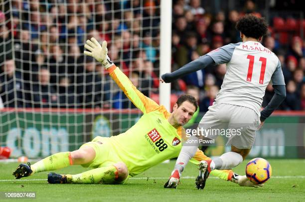 Mohamed Salah of Liverpool scores his third and Liverpool's fourth goal during the Premier League match between AFC Bournemouth and Liverpool FC at...