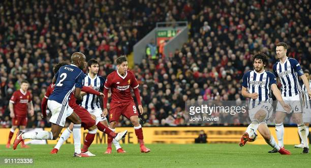 Mohamed Salah of Liverpool scores Liverpools second goal making the score 23 during The Emirates FA Cup Fourth Round match between Liverpool and West...