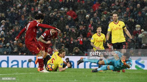 Mohamed Salah of Liverpool scores the fifth goal during the Premier League match between Liverpool and Watford at Anfield on March 17 2018 in...