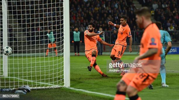 Mohamed Salah of Liverpool scores the fourth goal during the UEFA Champions League group E match between NK Maribor and Liverpool FC at Stadion...