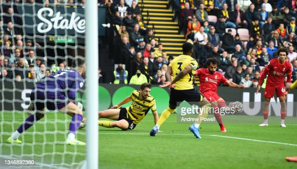 Mohamed Salah of Liverpool scores the fourth goal making the score 0-4 during the Premier League match between Watford and Liverpool at Vicarage Road...
