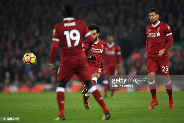 Mohamed Salah of Liverpool scores the fourth Liverpool goal during the Premier League match between Liverpool and Manchester City at Anfield on...