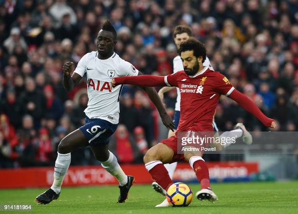 Mohamed Salah of Liverpool Scores the opener during the Premier League match between Liverpool and Tottenham Hotspur at Anfield on February 4 2018 in...