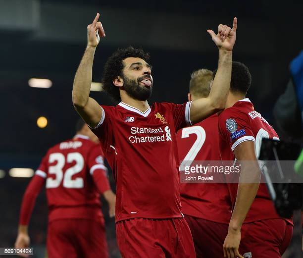 Mohamed Salah of Liverpool scores the opening goal and celebrates during the UEFA Champions League group E match between Liverpool FC and NK Maribor...