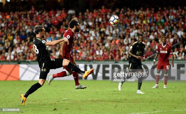 Mohamed Salah of Liverpool scores the opening goal during the Premier League Asia Trophy match between Liverpool FC and Leicester City FC at the Hong...