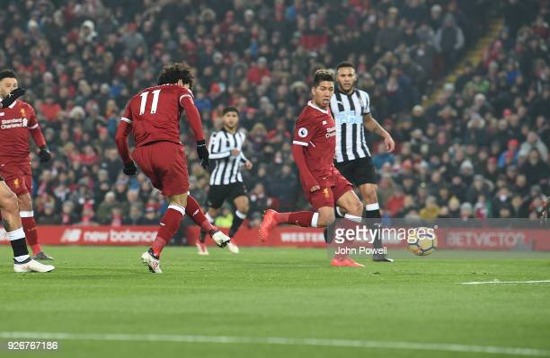 Mohamed Salah of Liverpool scores the opening goal during the Premier League match between Liverpool and Newcastle United at Anfield on March 3 2018...