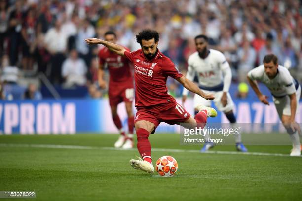 Mohamed Salah of Liverpool scores the opening goal during the UEFA Champions League Final between Tottenham Hotspur and Liverpool at Estadio Wanda...
