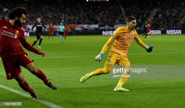 Mohamed Salah of Liverpool scores the second during the UEFA Champions League group E match between RB Salzburg and Liverpool FC at Red Bull Arena on...