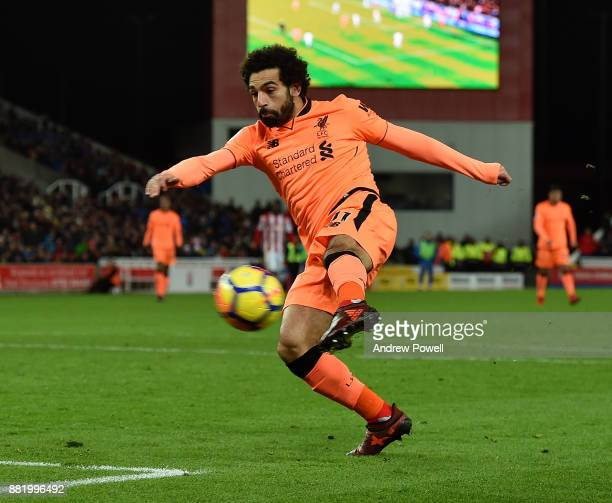 Mohamed Salah of Liverpool scores the second goal during the Premier League match between Stoke City and Liverpool at Bet365 Stadium on November 29...