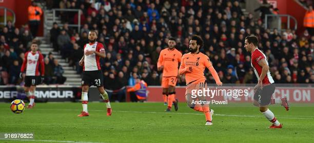 Mohamed Salah of Liverpool scores the second goal during the Premier League match between Southampton and Liverpool at St Mary's Stadium on February...