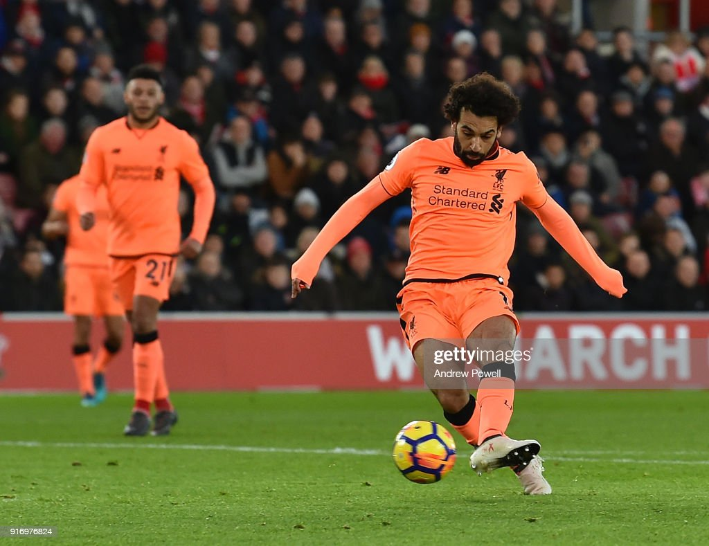 Mohamed Salah of Liverpool scores the second goal during the Premier League match between Southampton and Liverpool at St Mary's Stadium on February 11, 2018 in Southampton, England.