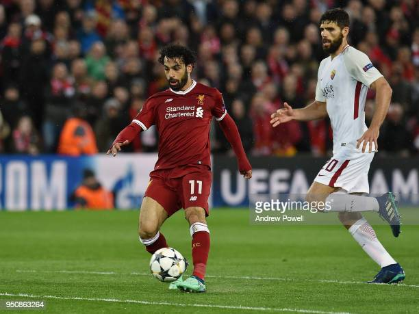 Mohamed Salah of Liverpool scores the second goal during the UEFA Champions League Semi Final First Leg match between Liverpool and AS Roma at...
