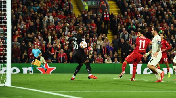 Mohamed Salah of Liverpool scores the second goal making the score during the UEFA Champions League group B match between Liverpool FC and AC Milan...