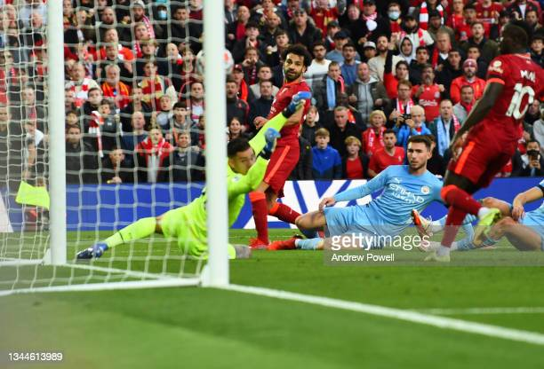 Mohamed Salah of Liverpool scores the second goal making the score during the Premier League match between Liverpool and Manchester City at Anfield...