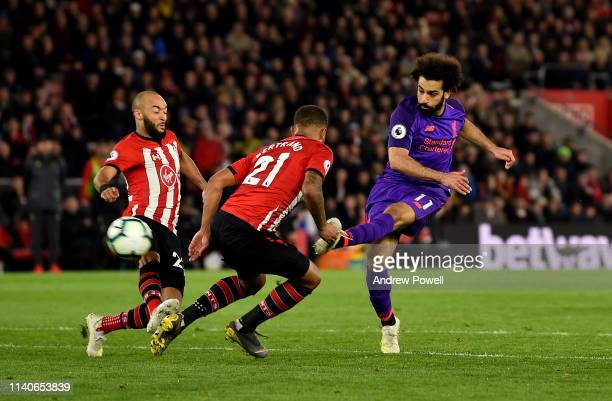 Mohamed Salah of Liverpool scores the sewcond goal during the Premier League match between Southampton FC and Liverpool FC at St Mary's Stadium on...