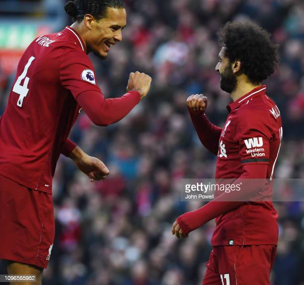 Mohamed Salah of Liverpool scores the third goal and celebrates during the Premier League match between Liverpool FC and AFC Bournemouth at Anfield...