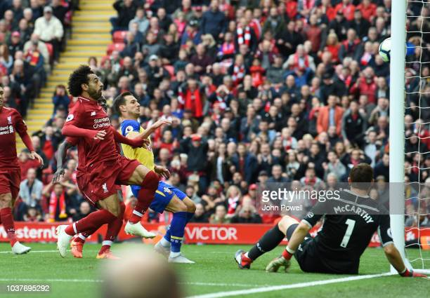 Mohamed Salah of Liverpool scores the Third goal during the Premier League match between Liverpool FC and Southampton FC at Anfield on September 22...