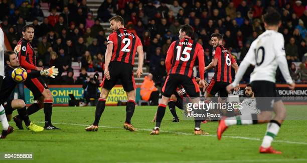 Mohamed Salah of Liverpool scores the third goal during the Premier League match between AFC Bournemouth and Liverpool at Vitality Stadium on...
