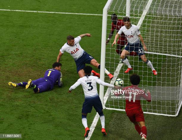 Mohamed Salah of Liverpool scores the winner during the Premier League match between Liverpool FC and Tottenham Hotspur at Anfield on March 31 2019...