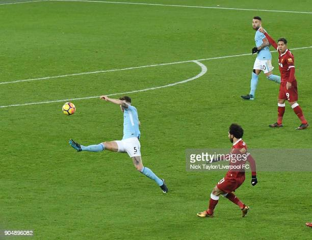 Mohamed Salah of Liverpool scores the winner during the Premier League match between Liverpool and Manchester City at Anfield on January 14 2018 in...