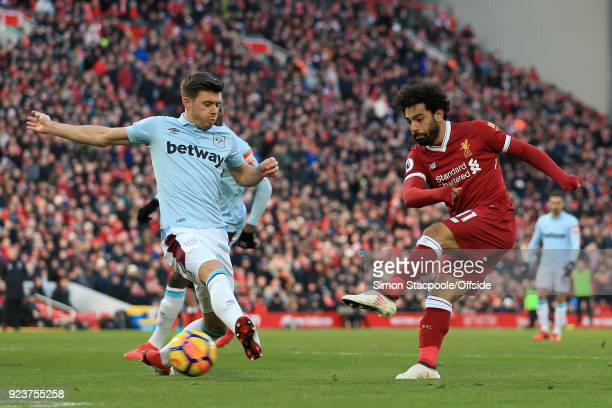 Mohamed Salah of Liverpool scores their 2nd goal during the Premier League match between Liverpool and West Ham United at Anfield on February 24 2018...