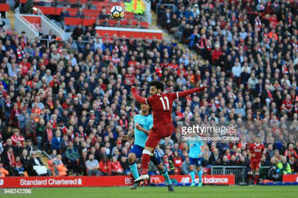 Mohamed Salah of Liverpool scores their 2nd goal during the Premier League match between Liverpool and AFC Bournemouth at Anfield on April 14 2018 in...