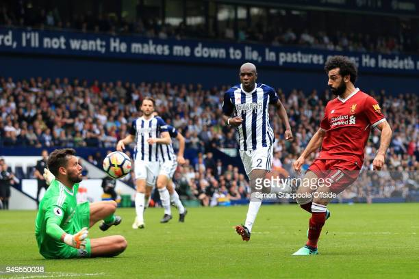 Mohamed Salah of Liverpool scores their 2nd goal past West Brom goalkeeper Ben Foster during the Premier League match between West Bromwich Albion...