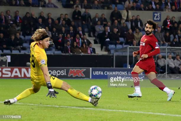 Mohamed Salah of Liverpool scores their 4th goal during the UEFA Champions League group E match between KRC Genk and Liverpool FC at Luminus Arena on...