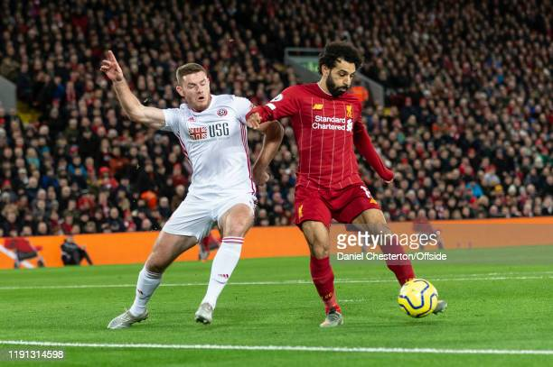 Mohamed Salah of Liverpool scores their first goal to make the score 10 during the Premier League match between Liverpool FC and Sheffield United at...