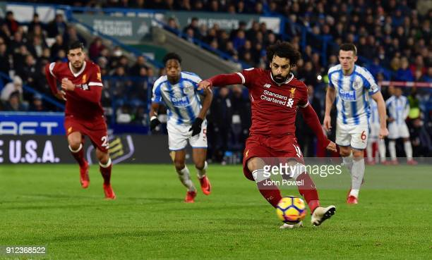 Mohamed Salah of Liverpool scoring a goal during the Premier League match between Huddersfield Town and Liverpool at John Smith's Stadium on January...