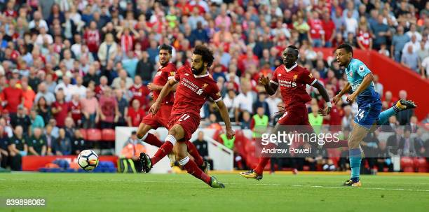 Mohamed Salah of Liverpool scoring during the Premier League match between Liverpool and Arsenal at Anfield on August 27 2017 in Liverpool England
