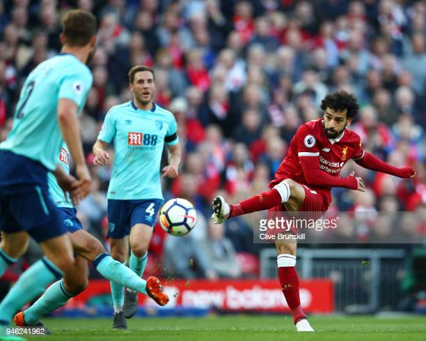 Mohamed Salah of Liverpool shoots during the Premier League match between Liverpool and AFC Bournemouth at Anfield on April 14 2018 in Liverpool...
