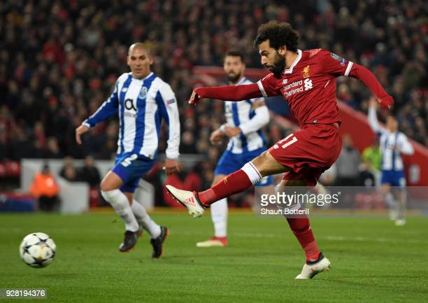 Mohamed Salah of Liverpool shoots during the UEFA Champions League Round of 16 Second Leg match between Liverpool and FC Porto at Anfield on March 6...