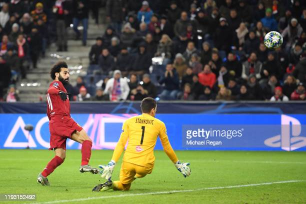 Mohamed Salah of Liverpool shoots over during the UEFA Champions League group E match between RB Salzburg and Liverpool FC at Red Bull Arena on...