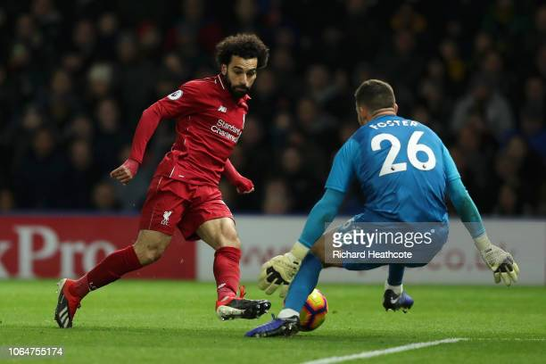 Mohamed Salah of Liverpool shoots wide during the Premier League match between Watford FC and Liverpool FC at Vicarage Road on November 24 2018 in...