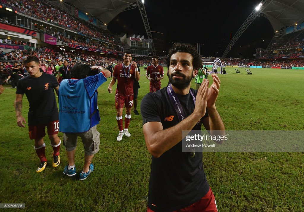Mohamed Salah of Liverpool shows his appreciation to the fans at the end of the Premier League Asia Trophy match between Liverpool FC and Leicester City FC at the Hong Kong Stadium on July 22, 2017 in Hong Kong, Hong Kong.