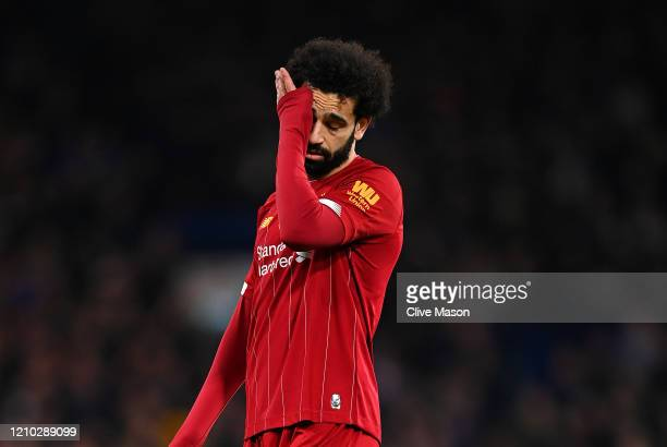 Mohamed Salah of Liverpool shows his emotions during the FA Cup Fifth Round match between Chelsea FC and Liverpool FC at Stamford Bridge on March 03,...